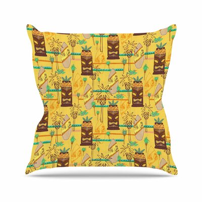 Surfing Tiki by Jane Smith Throw Pillow Size: 26 H x 26 W