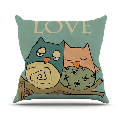 Lechuzas Love by Carina Povarchik Throw Pillow Size: 26 H x 26 W x 5 D