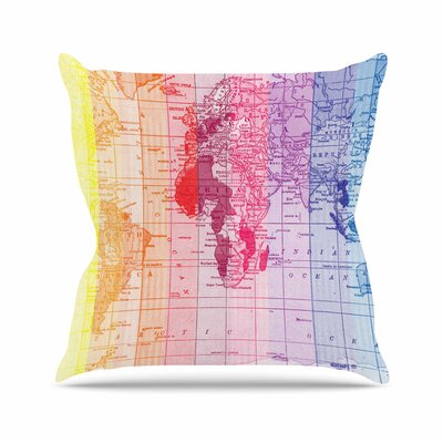 Rainbow World Map by Catherine Holcombe Throw Pillow Size: 16