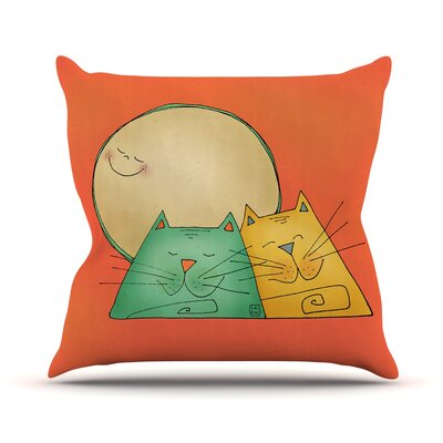 2 Gatos Romance by Carina Povarchik Throw Pillow Size: 18 H x 18 W x 3 D