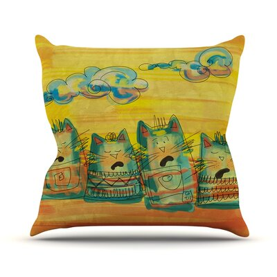 Singing Cats by Carina Povarchik Throw Pillow Size: 18 H x 18 W x 3 D