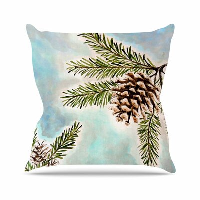 Pinecones and Sky by Christen Treat Throw Pillow Size: 18 H x 18 W x 3 D