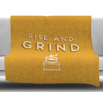 Rise and Grind by Busy Bree Fleece Blanket Size: 50 W x 60 L