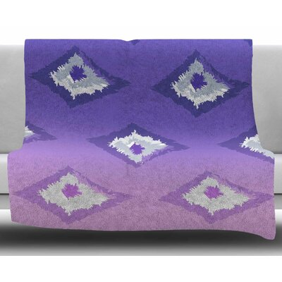 Ombre Ikat by Alison Coxon Fleece Blanket Color: Purple, Size: 50 W x 60 L