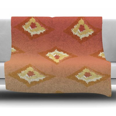Ombre Ikat by Alison Coxon Fleece Blanket Color: Orange, Size: 60 W x 80 L