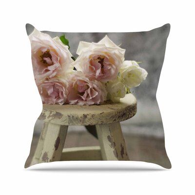 Roses on Stool by Cristina Mitchell Throw Pillow Size: 26 H x 26 W x 5 D