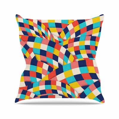 Curved Squares by Danny Ivan Throw Pillow Size: 16 H x 16 W x 3 D