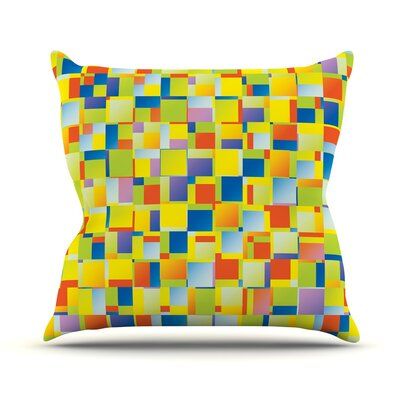 Multi Color Blocking by Dawid Roc Throw Pillow Size: 18