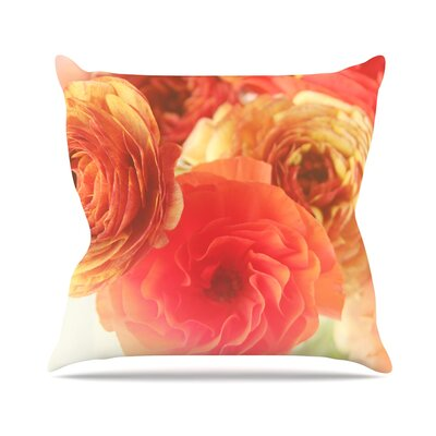 Coral Ranunculus by Debbra Obertanec Throw Pillow Size: 16 H x 16 W x 3 D