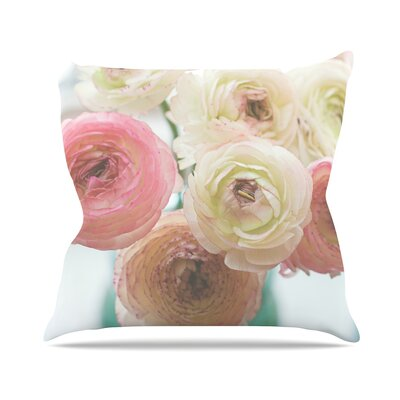 Pastel Ranunculus by Debbra Obertanec Throw Pillow Size: 16 H x 16 W x 3 D