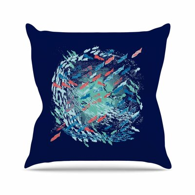 Underwater Life by Frederic Levy-Hadida Throw Pillow Size: 26 H x 26 W x 5 D, Color: Blue