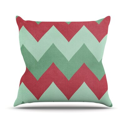 Holiday Chevrons by Catherine McDonald Outdoor Throw Pillow