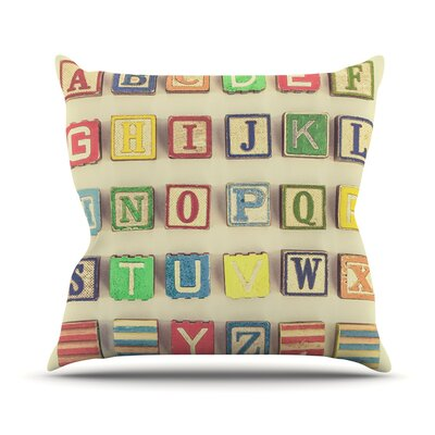Vintage ABCs by Debbra Obertanec Outdoor Throw Pillow