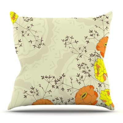 Flowers and Twigs by Nandita Singh Outdoor Throw Pillow