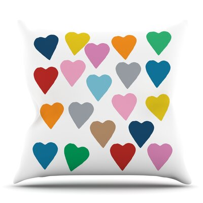 Colorful Hearts by Project M Outdoor Throw Pillow