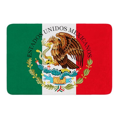 Mexico Flag And Coat Of Arms by Bruce Stanfield Bath Mat