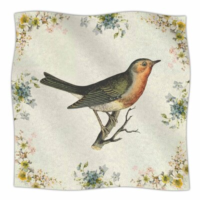 Vintage Bird 3 by NL Designs Fleece Blanket