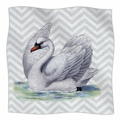 Vintage Swan by Suzanne Carter Fleece Blanket Size: 80 L x 60 W