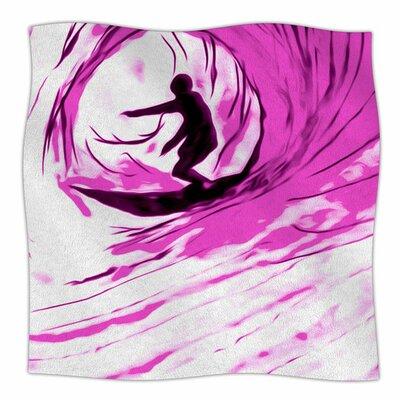 Solo Surfer by Bruce Stanfield Fleece Blanket Size: 80 L x 60 W