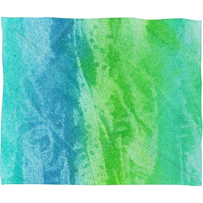 Caribbean Sea Fleece by Laura Trevey Polyester Throw Blanket Size: Large