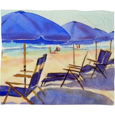 Beach Chairs Fleece by Laura Trevey Throw Blanket Size: Large