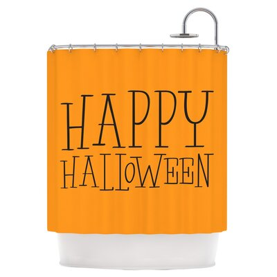 Happy Halloween Shower Curtain Color: Orange