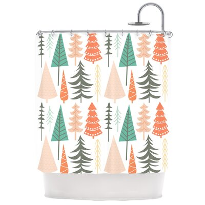 Happy Forest Shower Curtain Color: Red