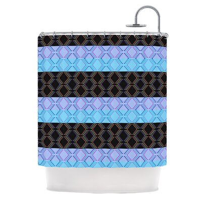Denin Diamond Shower Curtain Color: Blue / Black