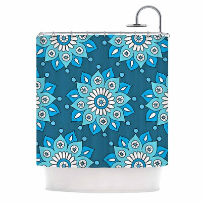 Flower Burst Shower Curtain Color: Blue