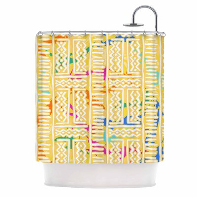 Lines and Zigzags Shower Curtain Color: Yellow
