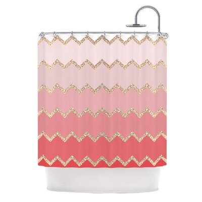 Shower Curtain Color: Coral / Ombre