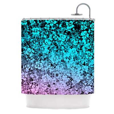 Flower Power Shower Curtain Color: Aqua