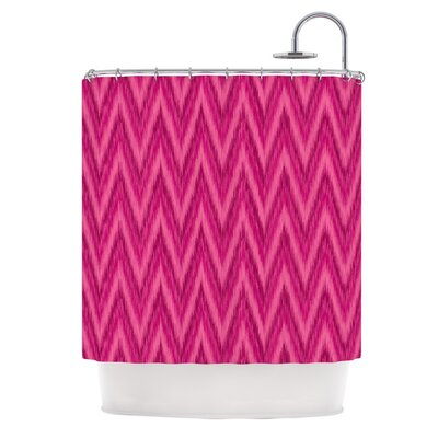 Chevron Shower Curtain Color: Berry / Pink