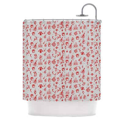 Miniature Christmas�Shower Curtain Color: Red