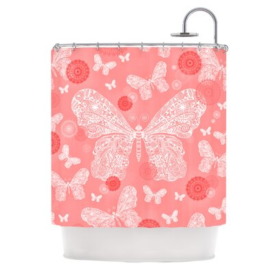 Butterfly Dreams Shower Curtain Color: Coral