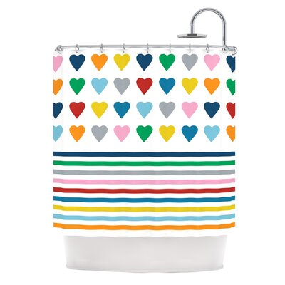 Heart Stripes Shower Curtain Color: Rainbow
