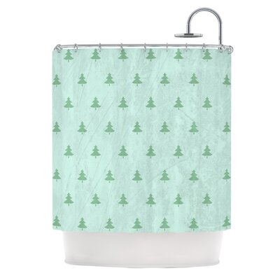 Pine Pattern Shower Curtain Color: Green
