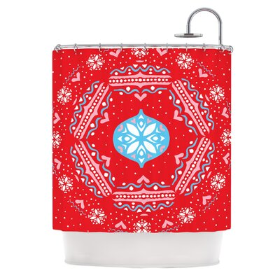 Snow Joy�Shower Curtain Color: Red