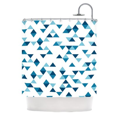 Triangles Shower Curtain Color: Blue