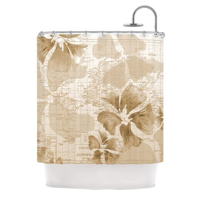 Flower Power Shower Curtain Color: Tan
