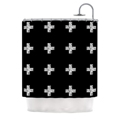 Swiss Cross Shower Curtain Color: Black