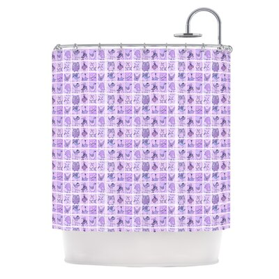 Cute Birds Shower Curtain Color: Purple