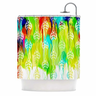 Seeds Shower Curtain Color: Blue