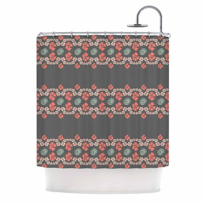 Flora Formations Shower Curtain Color: Teal