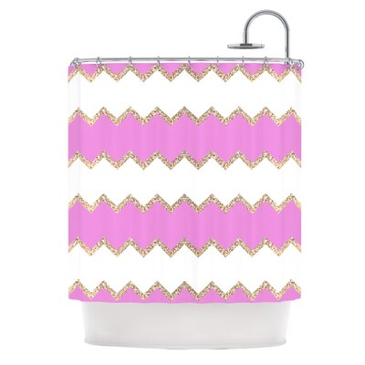 Chevron Shower Curtain Color: Pink