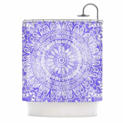 Boho Flower Mandala Shower Curtain Color: Blue