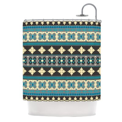 Borders Shower Curtain Color: Blue