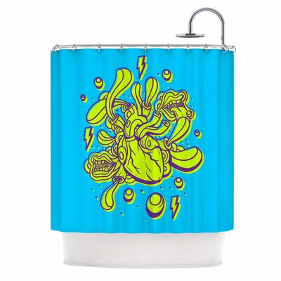 Doodle Surreal Heart Shower Curtain