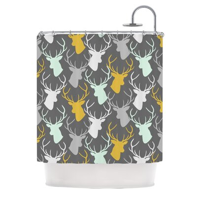 Scattered Deer Shower Curtain Color: Gray
