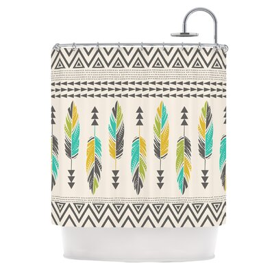Painted Feathers Shower Curtain Color: Cream